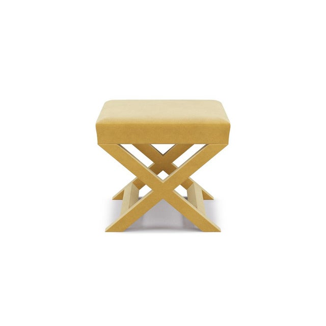 Not Yet Made - Made To Order X Bench in Canary Velvet For Sale - Image 5 of 5