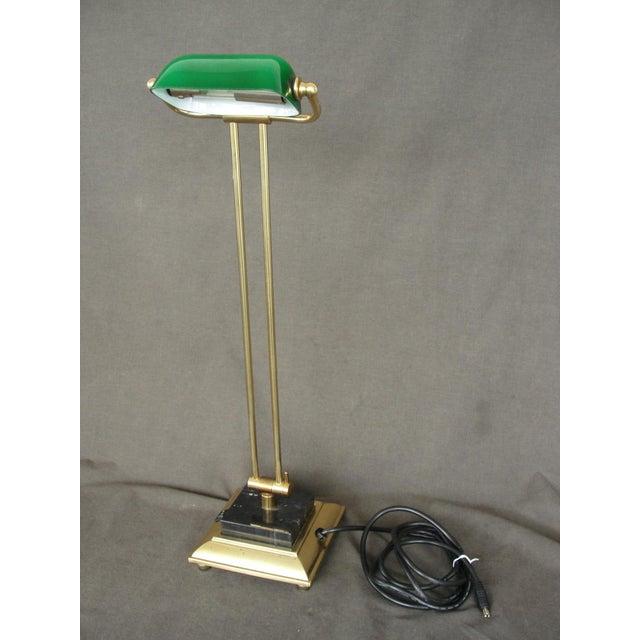 Tall Brass & Green Banker's Desk Lamp - Image 2 of 7
