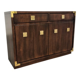 1980s Campaign Thomasville Sideboard Credenza For Sale