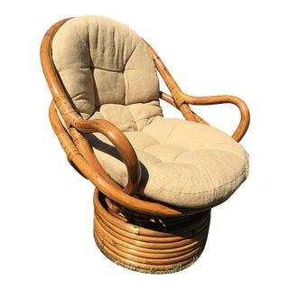 1970s Mid-Century Modern Swivel Jungalow Rattan Egg Pretzel Chair For Sale