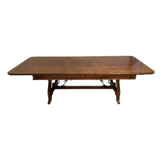 David Michael Solid Walnut & Iron 7ft Dining Table With Leaves- Italy For Sale