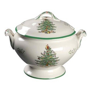 "Traditional Spode England ""Christmas Tree""Large Footed Tureen With Lid For Sale"