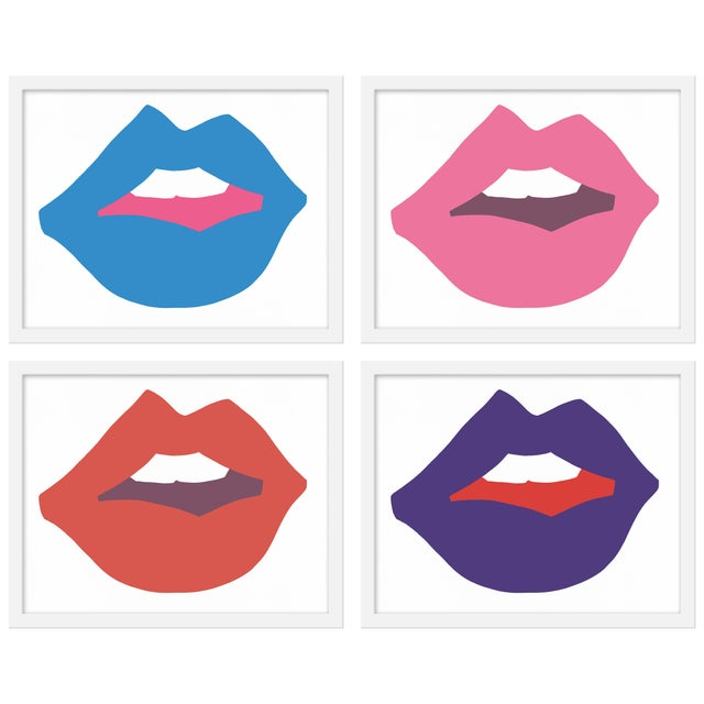 "Contemporary Medium ""Kiss Me (With Purple)"" Print by Angela Chrusciaki Blehm, 40"" X 32"" - Set of 4 For Sale - Image 3 of 3"