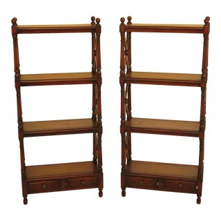 Theodore Alexander Mahogany Tiered Leather Book Shelves - a Pair