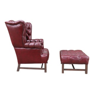 Burgandy Wing Back Chair and Ottoman For Sale