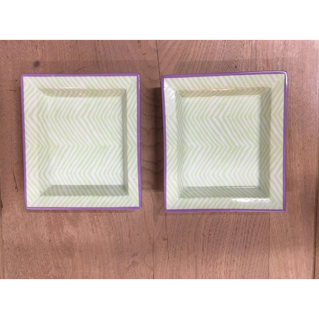 Pair of mini trays or catch all dishes or ashtrays, whatever you choose to use them for. These are in a minty green and...
