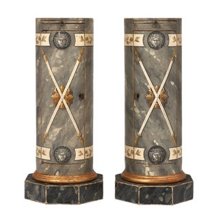 "Italian Painted ""Somno"" Columns - a pair For Sale"