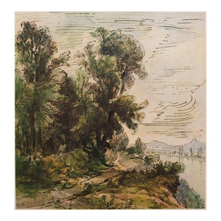 1950s River Landscape Lithograph by Theodore Rousseau