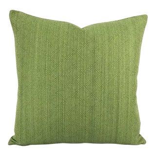 F. Schumacher Villis Strie Emerald Pillow Cover For Sale