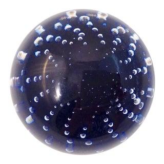 1980s Italian Blue Bubbles Crystal Ball For Sale