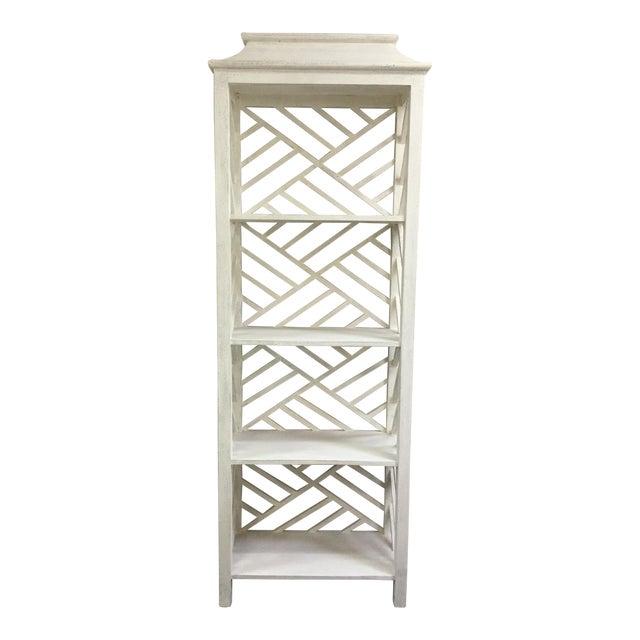 Contemporary White Slat Back & Side 4-Shelf Etagere For Sale