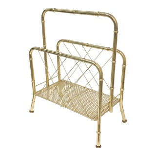 Hollywood Regency Faux Bamboo Standing Magazine Rack For Sale