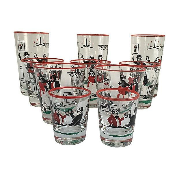 Mid-Century Illustrated Bar Glasses - Set of 10 - Image 7 of 7