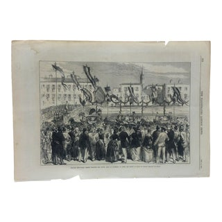 """1870 Antique Illustrated London News """"Spanish Deputation Passing Through the Lungh Arno"""" Print For Sale"""