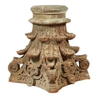 Antique Indian Corinthian Temple Capital Carving with Distressed Patina For Sale