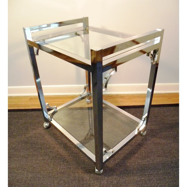 Mid-Century Chrome & Glass Bar Cart - Image 6 of 8