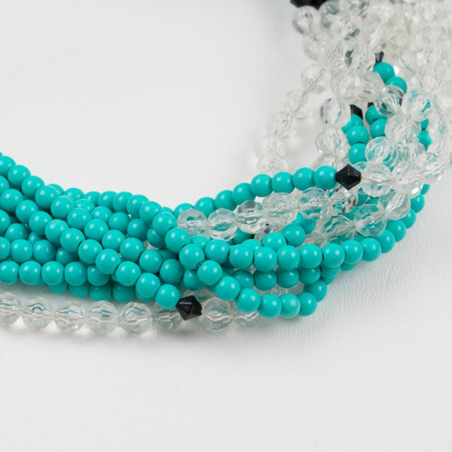 Angela Caputi Turquoise and Black Resin Necklace with Oversized Flower For Sale - Image 11 of 13