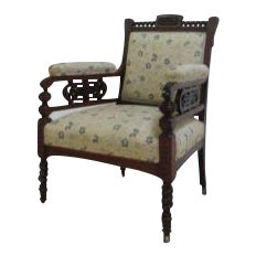 Antique Victorian Carved Fireside Lounge Chair For Sale