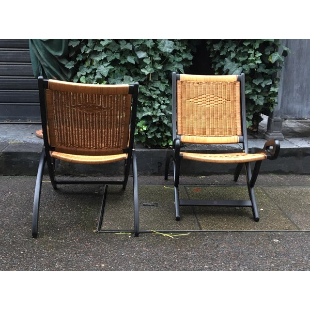 "Mid-Century Modern Gio Ponti (1891-1979), Pair of Folding Fireside Chairs, ""Ninfea"" Model For Sale - Image 3 of 7"