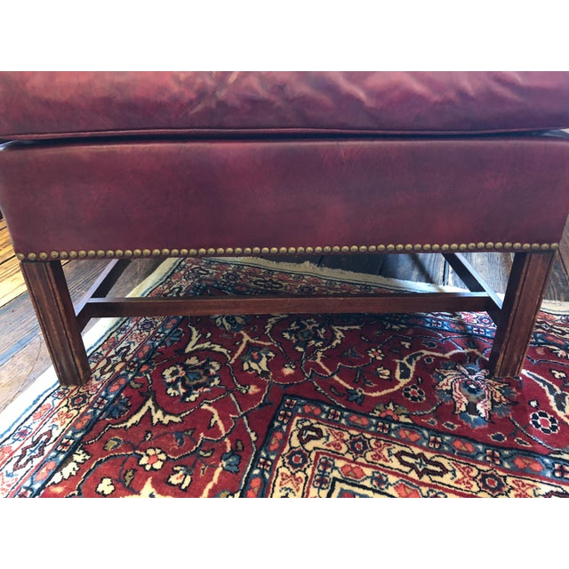 1950s Vintage Maroon Leather Wingback Chair For Sale - Image 10 of 13