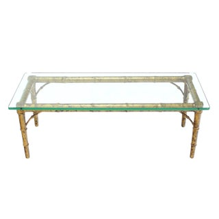 Lacquered Wood Faux Bamboo with Glass Top Rectangular Coffee Table For Sale