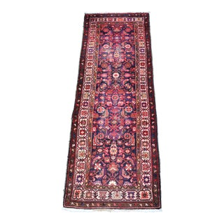 Vintage Mid-Century Floral Persian Hamedan Runner - 3′3″ × 9′7″ For Sale
