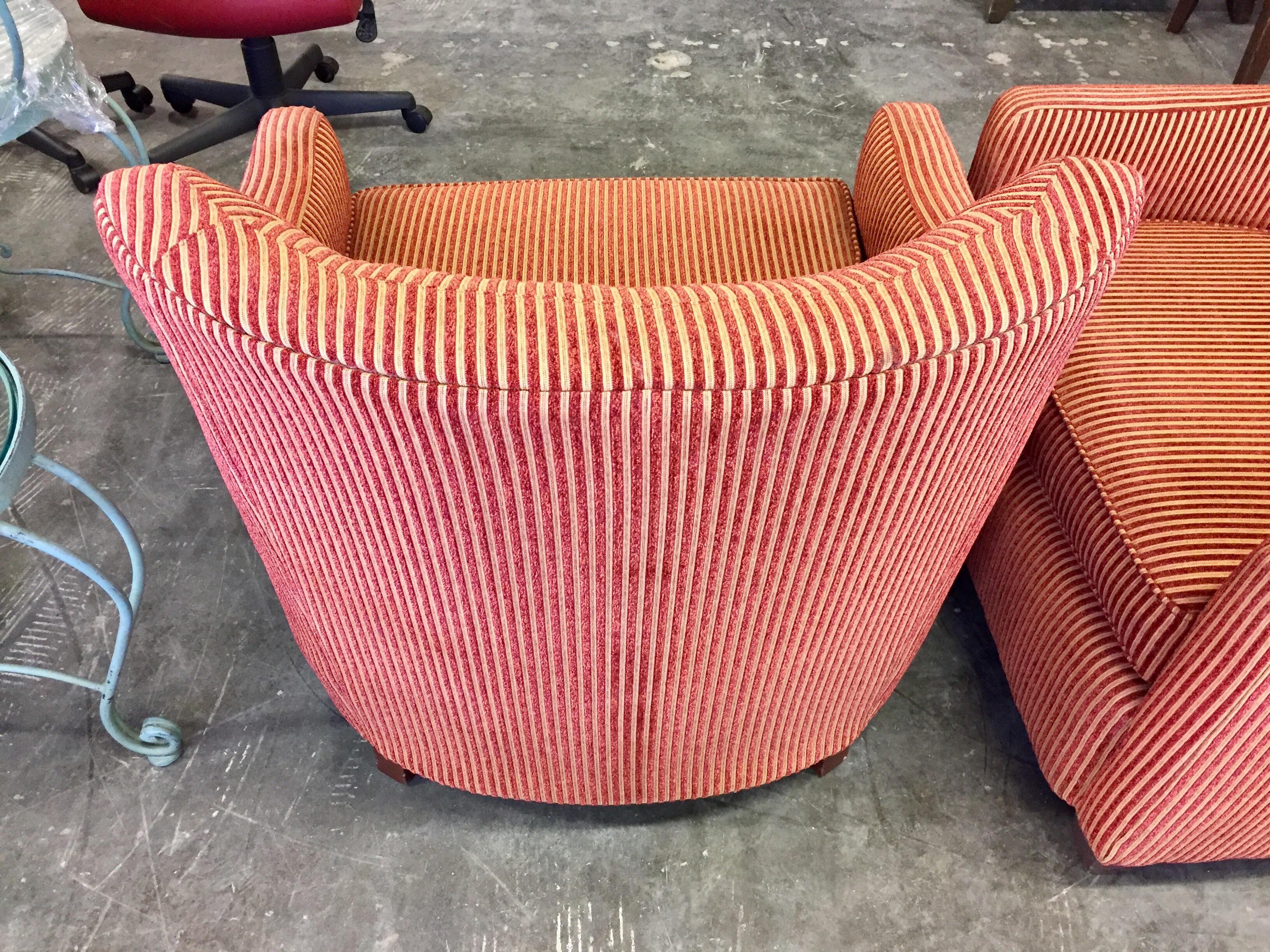 Charter Furniture Co. Wale Red U0026 Gold Corduroy Armchair   Image 3 ...