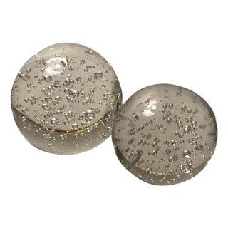Handblown Glass Large & Medium Bubble Paper Weights - A Pair