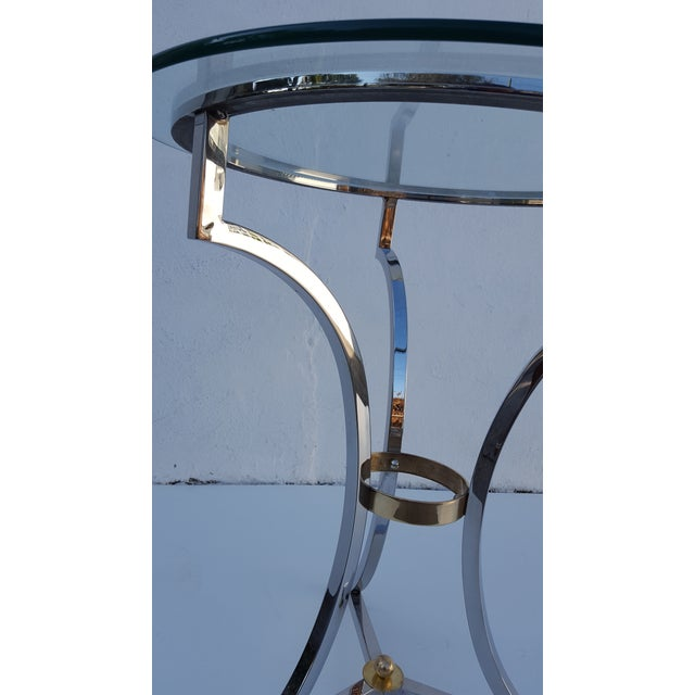 Maison Jansen Chrome and Solid Brass Hoot Foot Side Table For Sale In Miami - Image 6 of 9