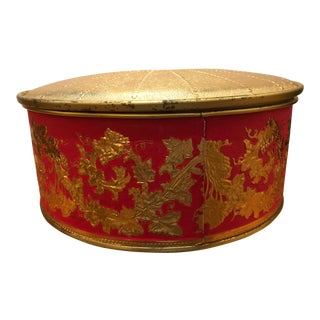 Final Price Vintage Mid-Century Guildcraft Embossed Crested Red and Gold Fruitcake Tin For Sale