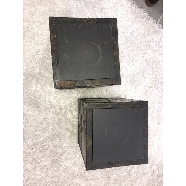 Metal Signed Paul Evans Sculpted Steel Side Tables - Pair For Sale - Image 7 of 11
