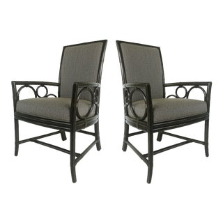 Vintage McGuire Rattan Armchairs, Newly Upholstered-Pair For Sale