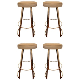 "Charles Hollis Jones ""Mathis"" Swivel Bar Stools in Polished Brass For Sale"