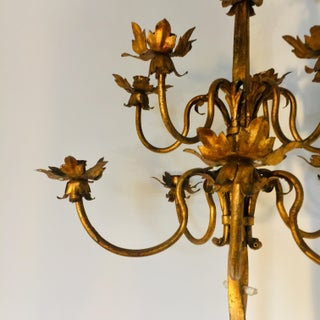 Massive 1920s Gilt Iron Spanish Revival Theater 12 Light Torchiere - 2 Available Preview