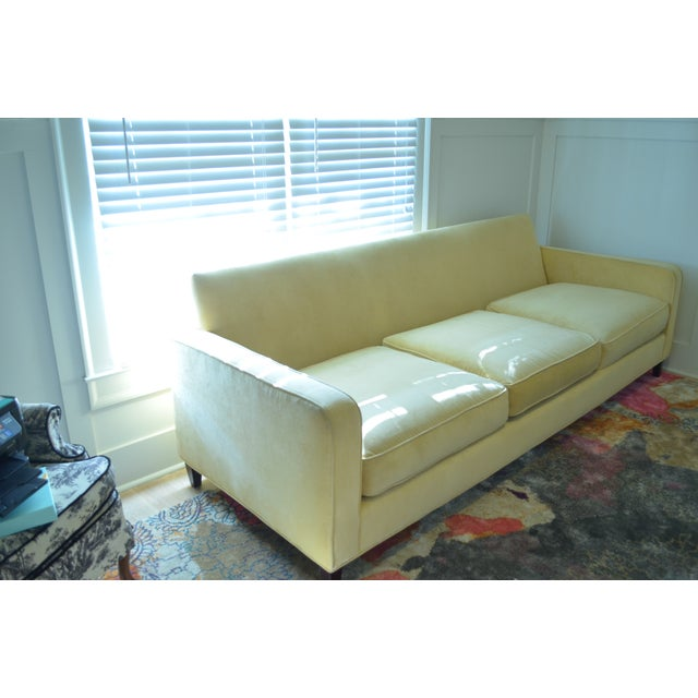 Ballard Designs Queens Velvet Yellow Vintage Sofa - Image 5 of 6