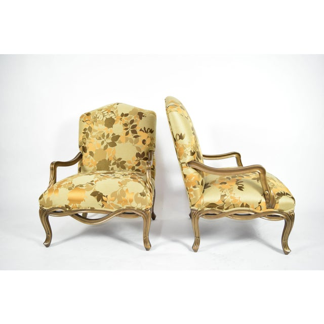 Custom Louis XVI Style Lounge Chairs with Rubelli Fabric - A Pair For Sale - Image 4 of 9