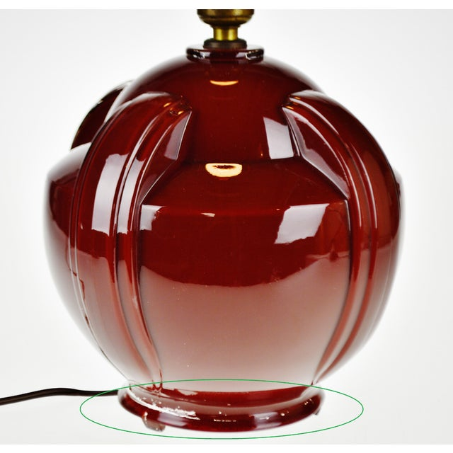 Art Deco Oxblood Reverse Painted Glass Table Lamp For Sale - Image 11 of 13