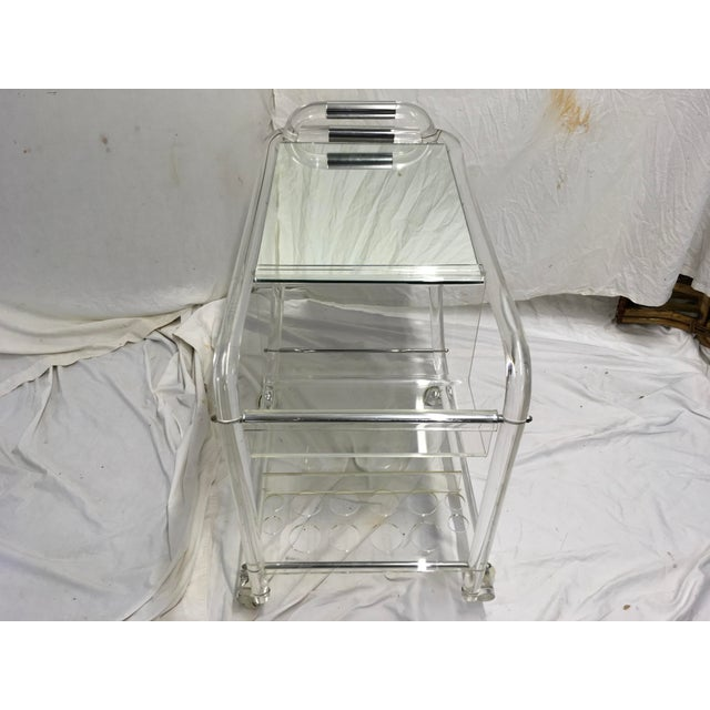 70s Acrylic W/ Chrome Bar Cart For Sale - Image 12 of 13