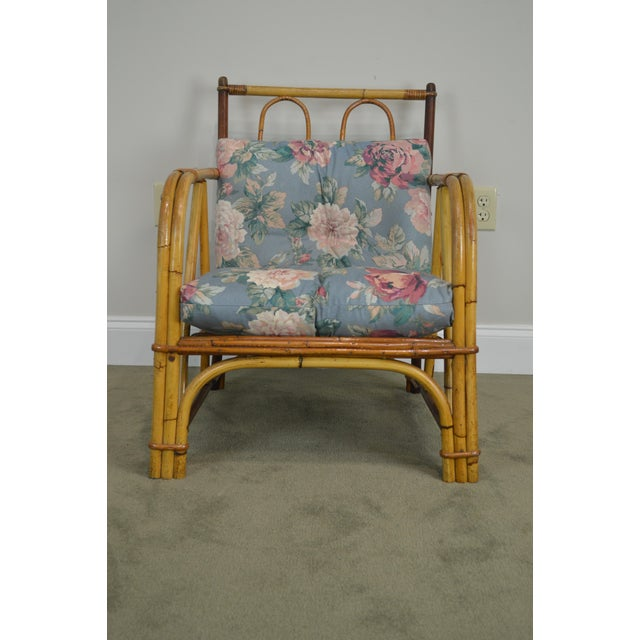 Ward Wicker Vintage Antique Pair of Split Reed Rattan Lounge Chairs For Sale - Image 11 of 13