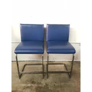 Pair of Milo Baughman Counter Stools in Blue Leather and Flat Bar Chrome Preview