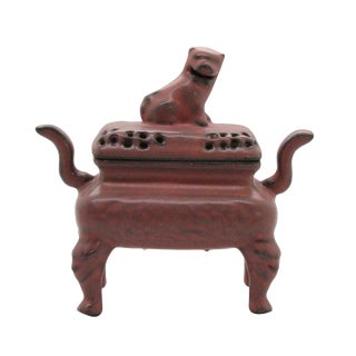 Chinese Ru Ware Pink Crackle Ceramic Ding Incense Burner Display For Sale