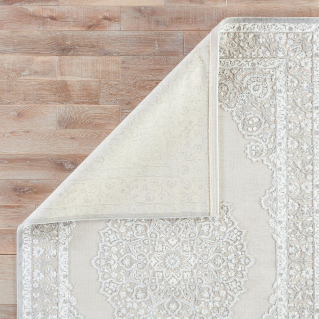 """Contemporary Contemporary Jaipur Living Malo Medallion Gray & White Area Rug - 7'6"""" X 9'6"""" For Sale - Image 3 of 6"""