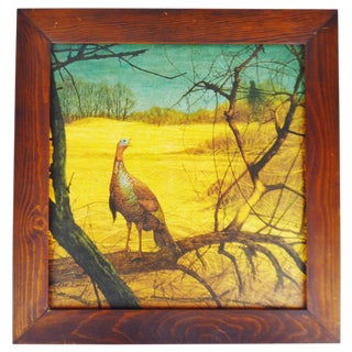 Vintage Rustic Framed Ken Davies Turkey in the Wild Print For Sale
