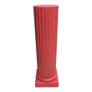 Vintage Italian Raspberry Pink Fluted Column Pedestal Stand For Sale