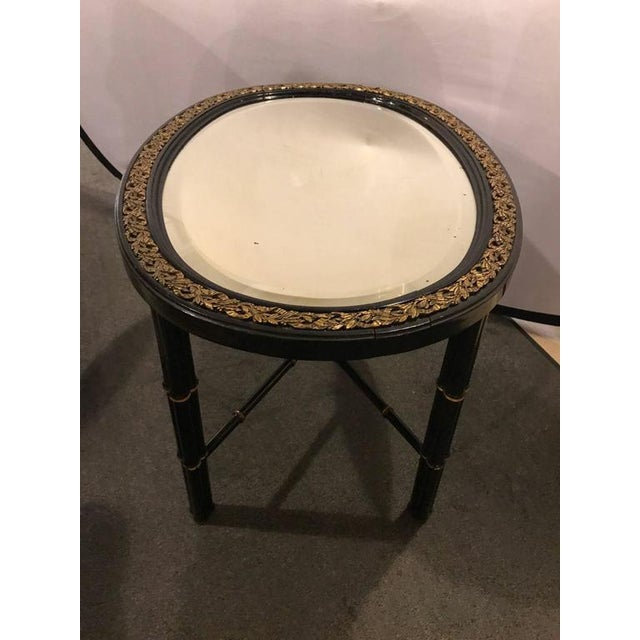 Bronze Hollywood Regency Beveled Mirror Top Black Oval Coffee Table With Bronze Mounts For Sale - Image 7 of 9