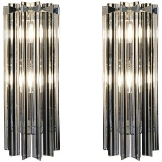 Italian Contemporary Nickel Crystal and Black Inset Murano Glass Sconces - a Pair For Sale
