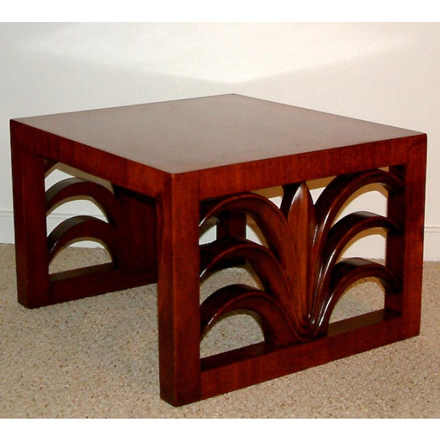 United States circa 1950 A fine pair of custom walnut end tables designed by T. H. Robsjohn Gibbings for Widdicomb with...