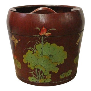 Chinese Red Flower Butterflies Round Large Wood Bucket