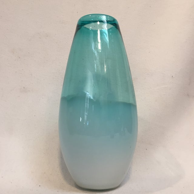 2010s Beautiful Large Teal Glass Vase For Sale - Image 5 of 8