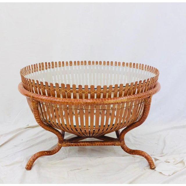 Vintage Rattan & Glass Top Coffee Table For Sale - Image 12 of 12